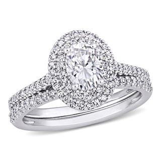Moissanite by Miadora Signature Collection 14k White Gold 1ct TGW Oval-Cut Moissanite and 2/5ct TDW Diamond Bridal Ring Set
