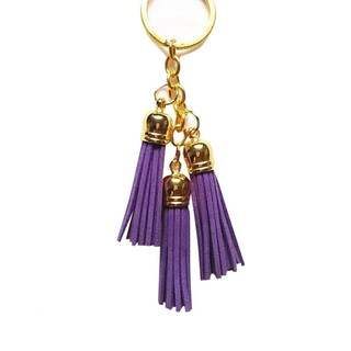 Leather Tassel Keychain (Option: Purple)