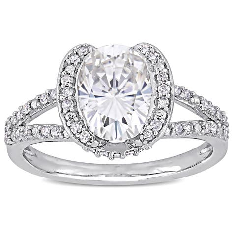 Miadora 2ct DEW Oval-cut Moissanite and 1/4ct TDW Diamond Engagement Ring in 14k White Gold