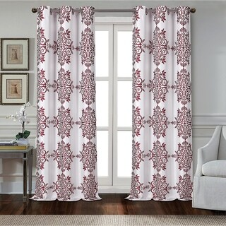 Dainty Home Medallion Room Darkening Printed Textured Fabric Grommet Window Curtain Panel Pair