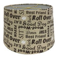 Royal Designs Linen Cream and Brown Dog Lover Print Hardback Lamp Shade