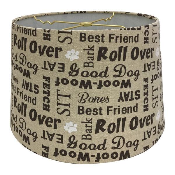 Royal Designs Linen Cream and Brown Dog Lover Print Hardback Lamp Shade