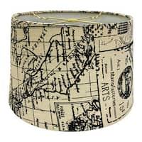 Royal Designs Linen Cream and Black Vintage Map Postcard Hardback Lamp Shade