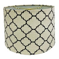 Royal Designs Linen Eggshell and Black Moroccan Print Shallow Drum Hardback Lamp Shade