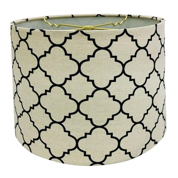 Royal Designs Linen Eggshell and Black Moroccan Print Shallow Drum Hardback Lamp Shade