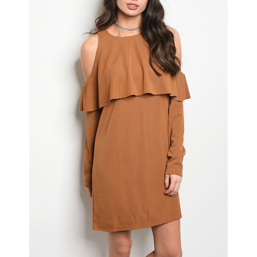 JED Womens Cold Shoulder Ruffled Camel Dress