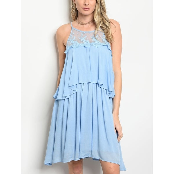 f5c0628e78 Shop JED Women's Sky Blue Short Tiered Ruffle Sleeveless Dress - On Sale -  Free Shipping On Orders Over $45 - Overstock - 20192313