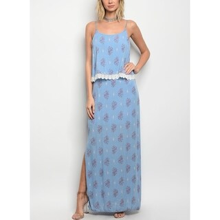 JED Women's Straight Cut Floral Maxi Dress with Side Slits