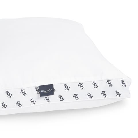 Nautica Lux-Loft Down Alternative Novelty Print Gusset Pillow - White