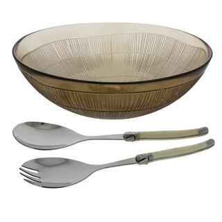 French Home 3 Piece Laguiole Salad Set - Mocha