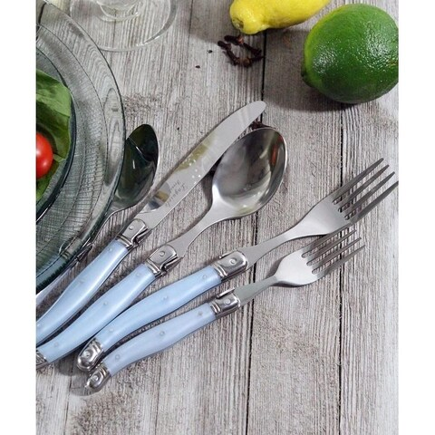 French Home 20 Piece Laguiole Ice Blue Flatware Set