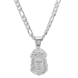 Steeltime Men's Stainless Steel Cubic Zirconia Jesus Pendant in 2 Colors