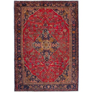 eCarpetGallery Hand-knotted Hamadan Red Wool Rug (6'10 x 9'9)