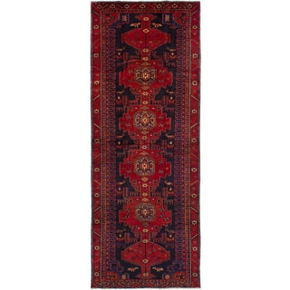 eCarpetGallery Hand-knotted Hamadan Red Wool Rug (4'5 x 12'4)