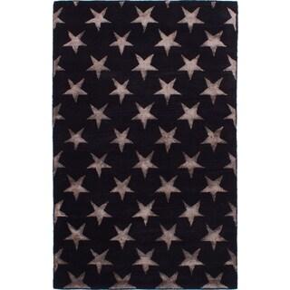 eCarpetGallery Hand Tufted Abstract Art Dark Navy Silk, Wool Rug - 5'0 x 8'0