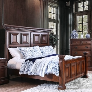 Zion Transitional Brown Cherry Panel Bed by FOA
