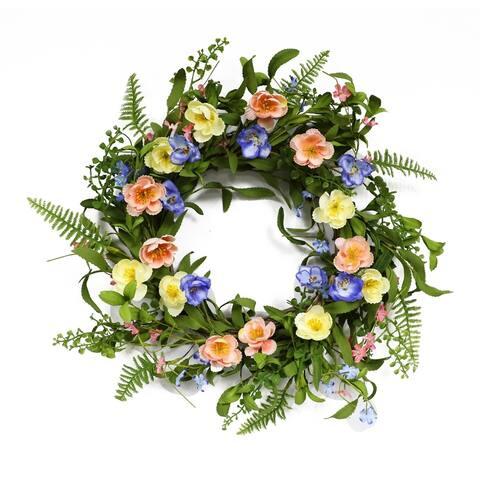 Puleo International 20 in. Artificial Ranunculus Wreath