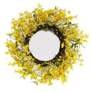 Puleo International 22 in. Artificial Yellow Jasmine Wreath