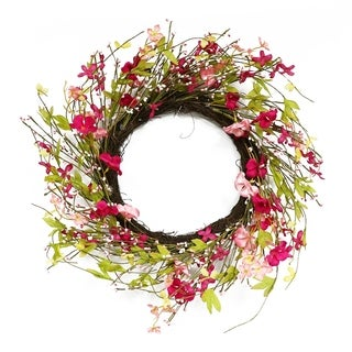 Puleo International 22 in. Artificial Pink Jasmine Wreath