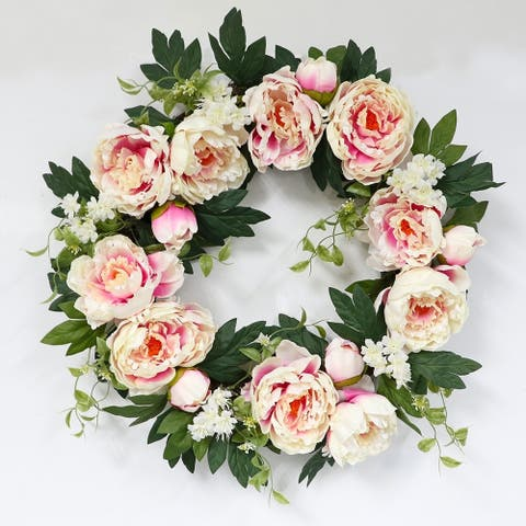 Puleo International 22 in. Artificial Pink Peony Wreath