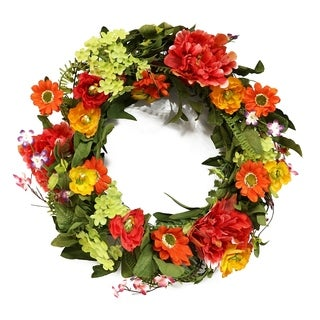 Puleo International 22 in. Artificial Peony and Chrysanthemum Wreath