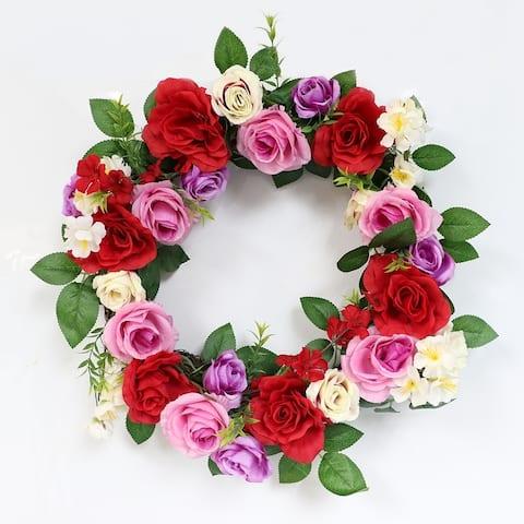 Puleo International 20 in. Artificial Rose Wreath