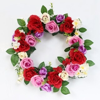 Puleo International 20 in. Artificial Rose Wreath