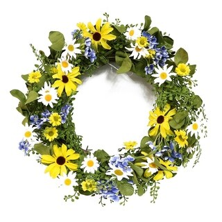 Puleo International 22 in. Artificial Sunflower and Daisy Wreath