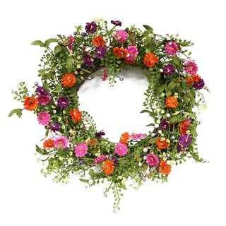 Puleo International 22 in. Artificial Spring Daisy Wreath