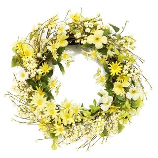Puleo International 22 in. Artificial Daisy and Dogwood Wreath