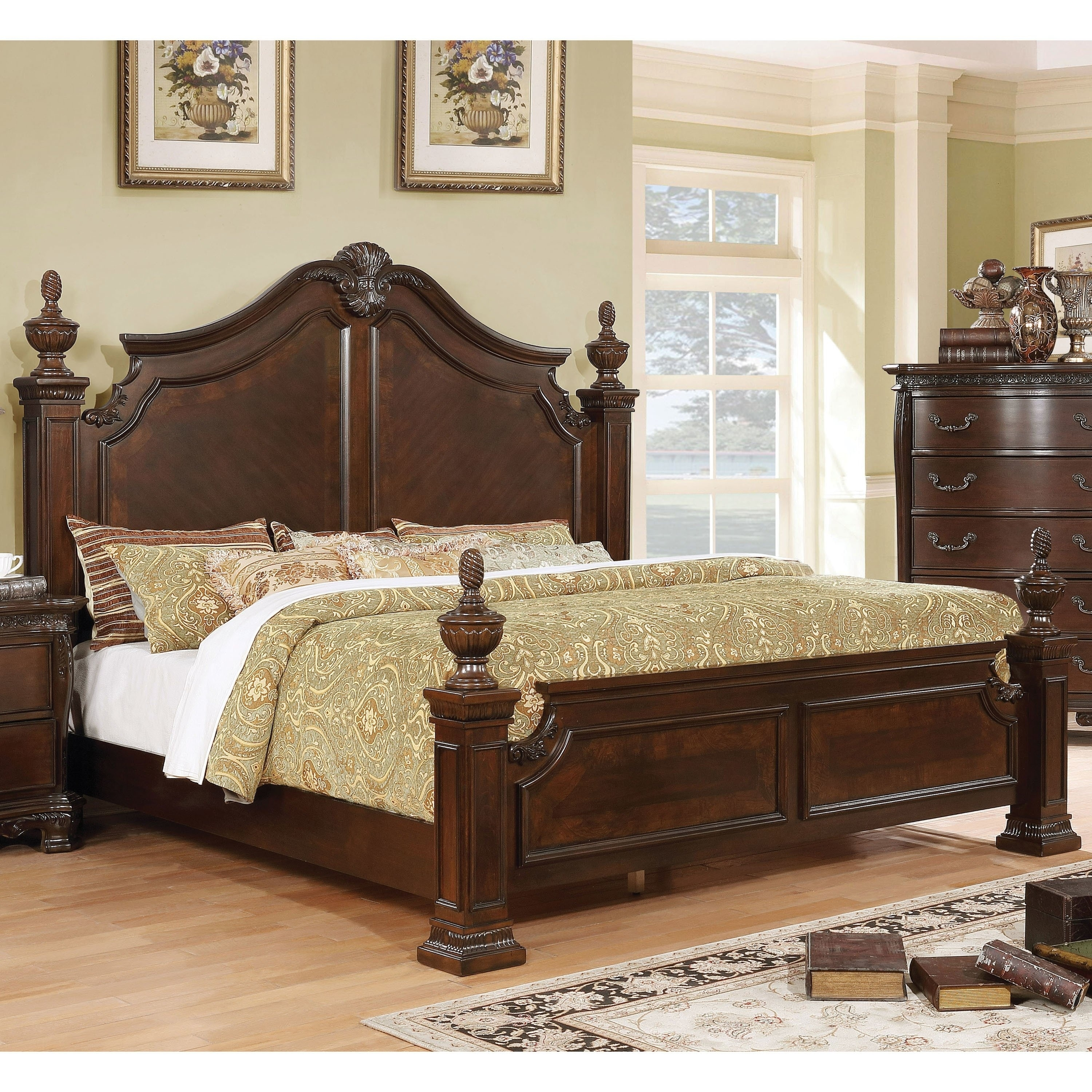 Furniture Of America Ulla Traditional Solid Wood Four Poster Bed
