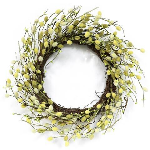 Puleo International 22 in. Artificial Fuzzy Catkins Wreath