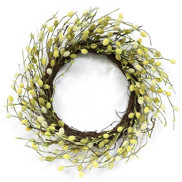 Puleo International 22 in. Artificial Fuzzy Catkins Wreath