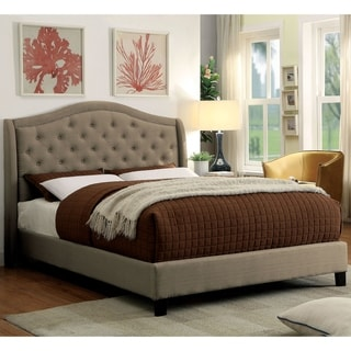 Furniture of America Wall Transitional Grey Fabric Tufted Platform Bed