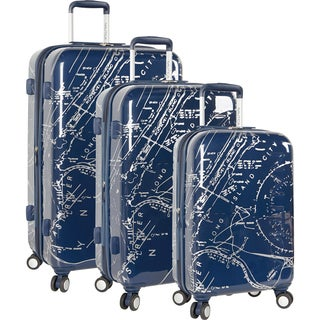 Nautica Shipyard Map 3-piece Hardside Spinner Luggage Set