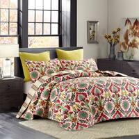 Cali Pink Damask Reversible 3-piece Quilt Set
