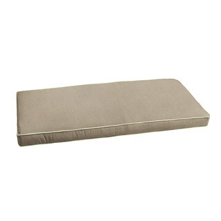 Sunbrella Taupe with Ivory Indoor/ Outdoor Bench Cushion by Humble + Haute