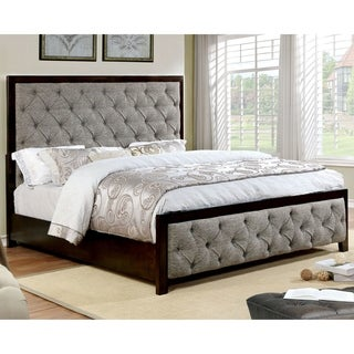 Gordon Contemporary Warm Grey Button Tufted Bed by FOA