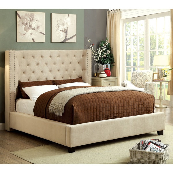 Superieur Furniture Of America Haley Contemporary Tufted Wingback Bed
