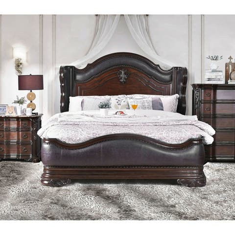 Furniture of America Hols Traditional Cherry Solid Wood Wingback Bed