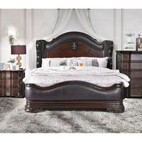 Furniture of America Huston Traditional Brown Cherry leather Wingback Bed