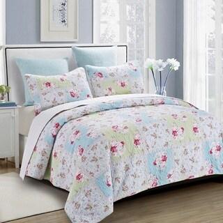Rose Garden Floral Reversible 3-piece Quilt Set
