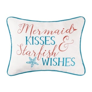 Mermaid Kisses Embroidered 12x16 Throw Pillow
