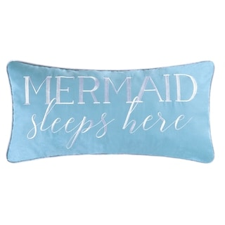 Mermaid Sleeps Here Embroidered 12x24 Throw Pillow