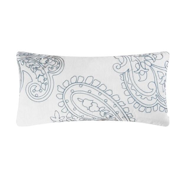 Aqua Paisley Rice Stitch 12x24 Throw Pillow