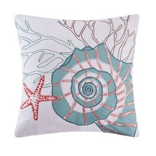 Nautilus Applique 18 Inch Throw Pillow