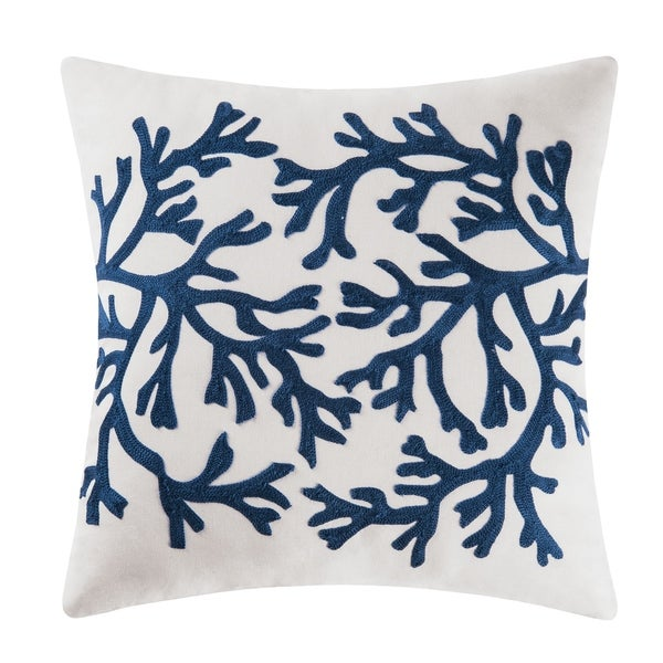 Blue Coral Chain Stitch 18 Inch Throw Pillow