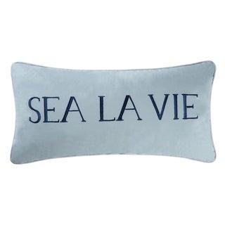 Sea La Vie Blue Embroidered 12x24 Throw Pillow