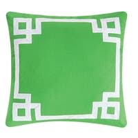 Greek Key Green Embroidered 20x20 Throw Pillow