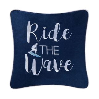 Surfer's Embroidered 16 Inch Throw Pillow